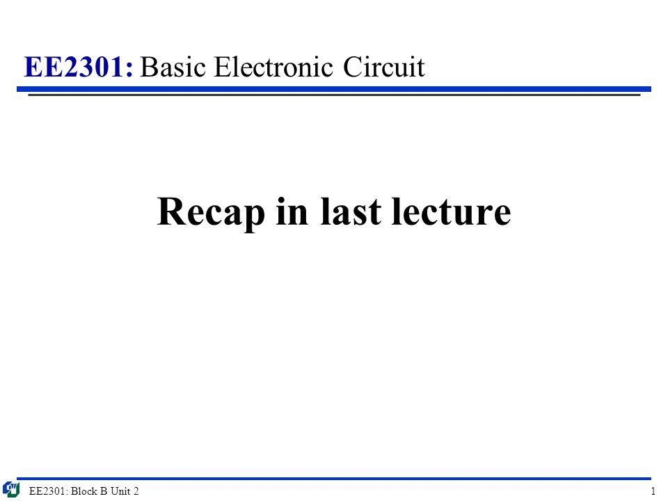 EE2301: Basic Electronic Circuit Recap in last lecture EE2301: Block B Unit 21