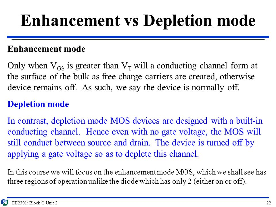 EE2301: Block C Unit 222 Enhancement vs Depletion mode Enhancement mode Only when V GS is greater than V T will a conducting channel form at the surfa