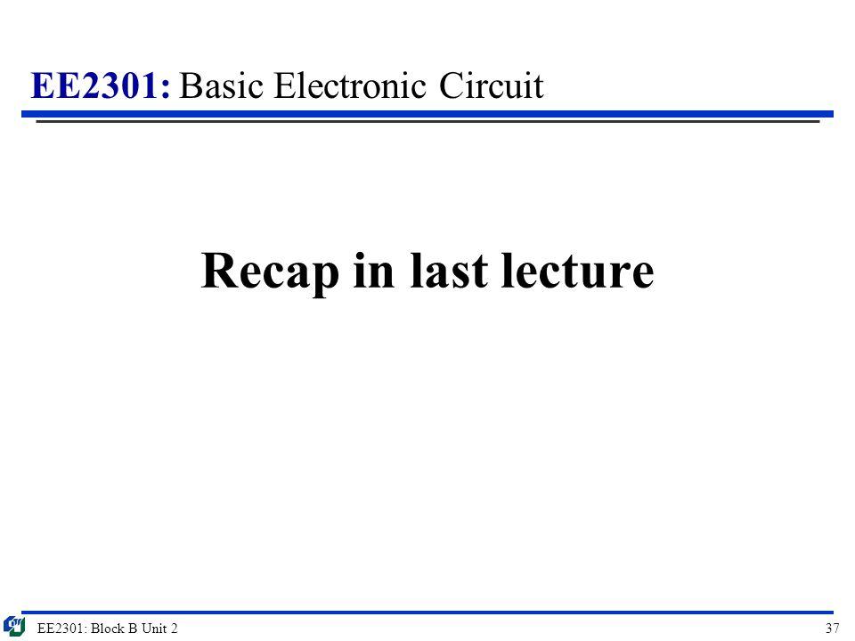 EE2301: Basic Electronic Circuit Recap in last lecture EE2301: Block B Unit 237
