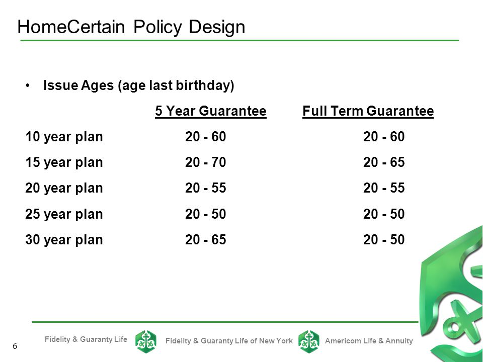 Fidelity & Guaranty Life Fidelity & Guaranty Life of New YorkAmericom Life & Annuity 16 One premium is charged for all covered children Issue ages: 15 days through 18 years of age; age last birthday Minimum/ maximum: $5,000/ $10,000; available in increments of $1,000 If primary insured dies while this rider is in effect; each child will receive a paid- up term life policy to age 25.