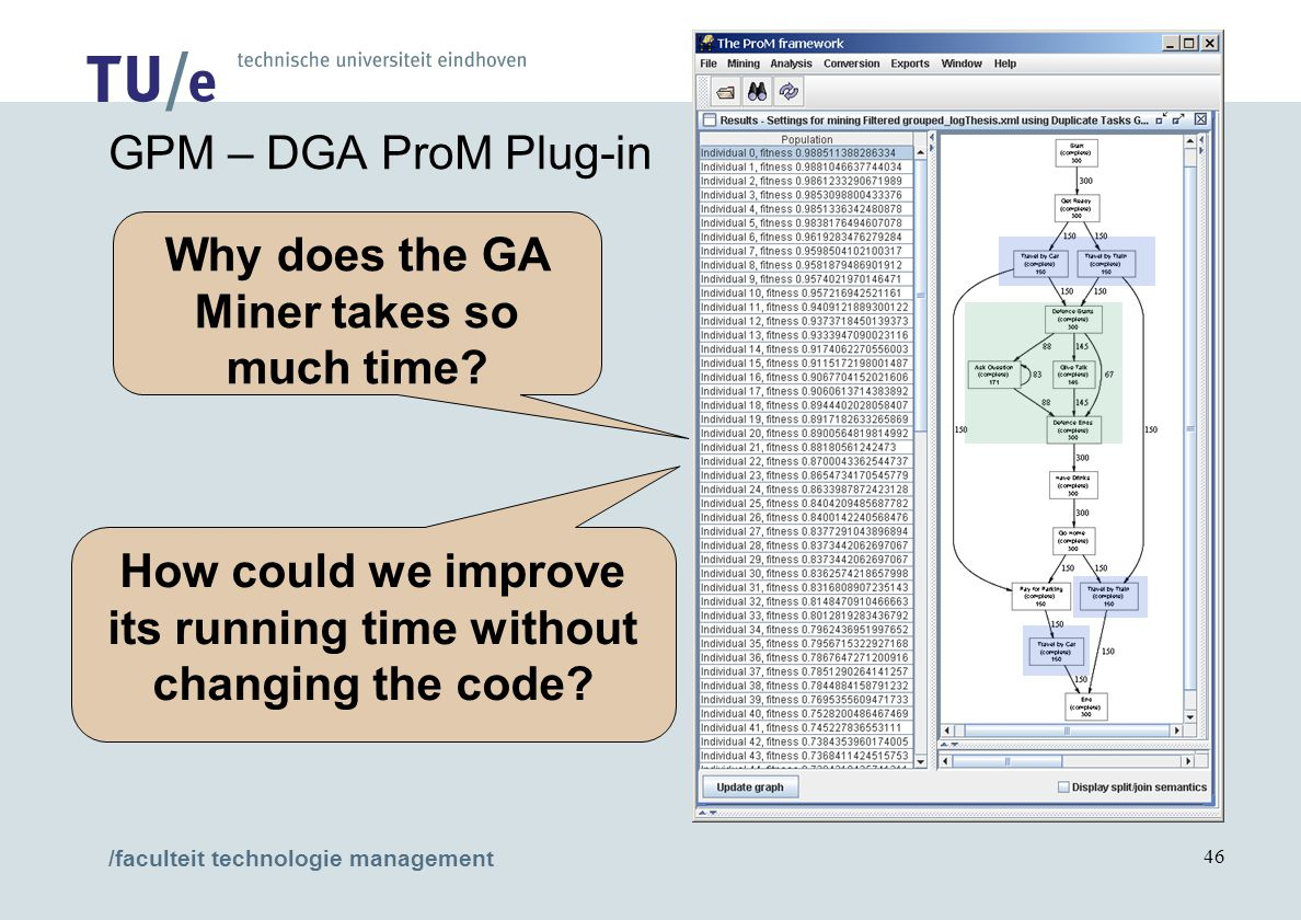 /faculteit technologie management 46 GPM – DGA ProM Plug-in Why does the GA Miner takes so much time.