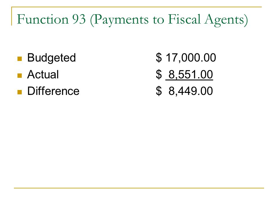 Function 93 (Payments to Fiscal Agents) Budgeted$ 17,000.00 Actual$ 8,551.00 Difference$ 8,449.00