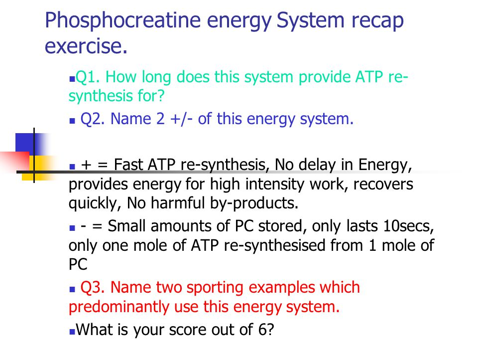 The Lactic Acid energy system Aims: To know and understand the re- synthesis of ATP through this energy system.