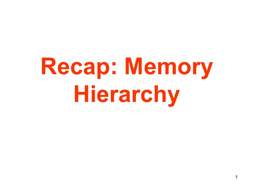 2 Memory Hierarchy - the Big Picture Problem: memory is too slow and or too small Solution: memory hierarchy Fastest Slowest Smallest Biggest Highest Lowest Speed: Size: Cost: Control Datapath Secondary Storage (Disk) Processor Registers L2 Off-Chip Cache Main Memory (DRAM) L1 On-Chip Cache