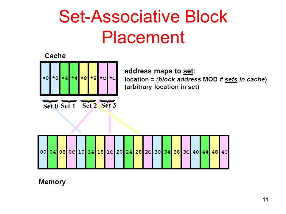 11 Set-Associative Block Placement 0400080C1014181C2024282C3034383C *4*0*8*C 4044484C Cache Memory *0*4*8*C Set 0 Set 1 Set 2 Set 3 address maps to se