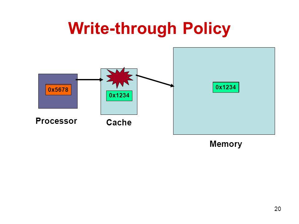 20 0x1234 Write-through Policy 0x1234 Processor Cache Memory 0x1234 0x5678