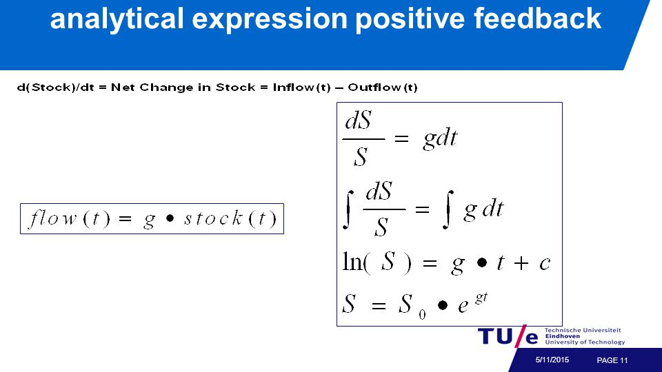 PAGE 11 5/11/2015 analytical expression positive feedback