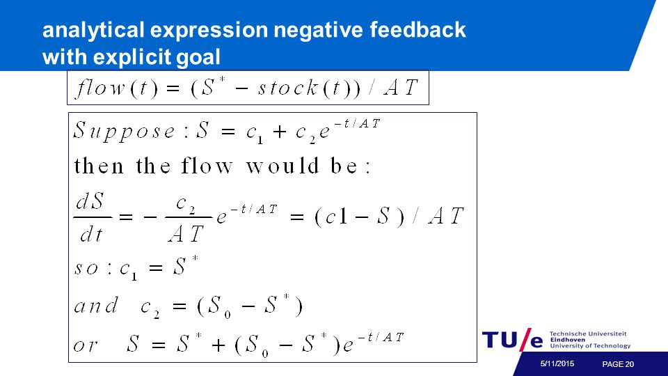 PAGE 20 5/11/2015 analytical expression negative feedback with explicit goal