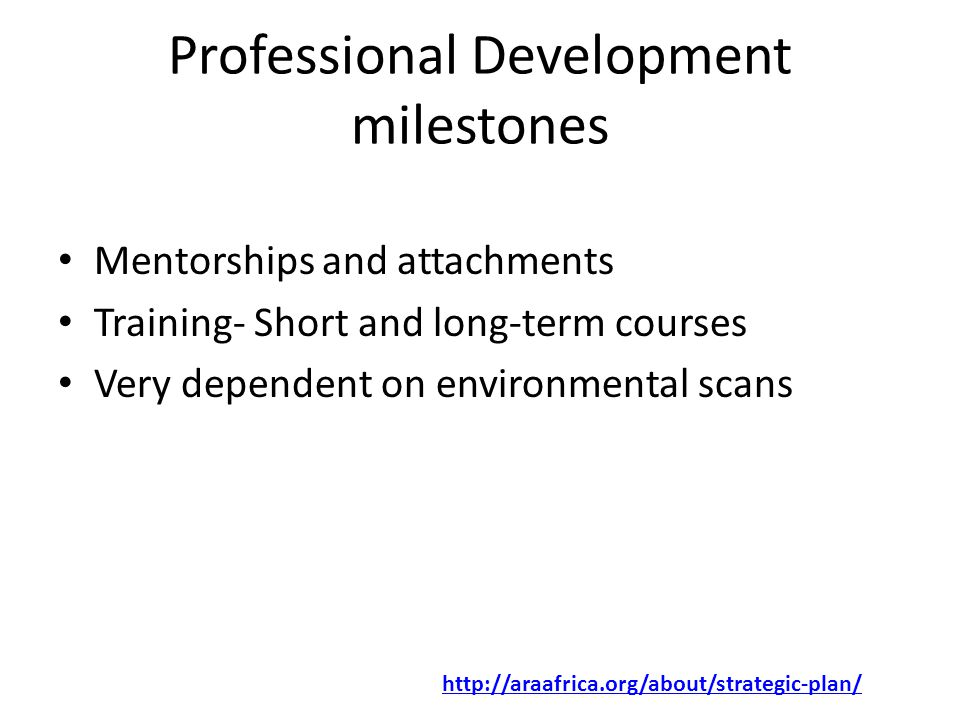 Professional Development milestones Mentorships and attachments Training- Short and long-term courses Very dependent on environmental scans http://araafrica.org/about/strategic-plan/