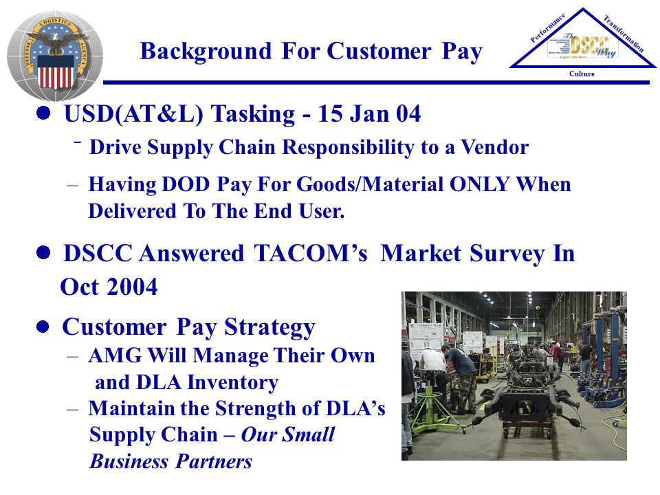 Background For Customer Pay USD(AT&L) Tasking - 15 Jan 04  Drive Supply Chain Responsibility to a Vendor –Having DOD Pay For Goods/Material ONLY When Delivered To The End User.