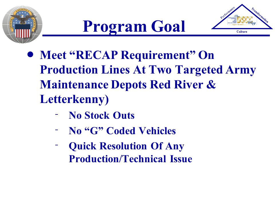 Performance Transformation Culture Program Goal Meet RECAP Requirement On Production Lines At Two Targeted Army Maintenance Depots Red River & Letterkenny)  No Stock Outs  No G Coded Vehicles  Quick Resolution Of Any Production/Technical Issue