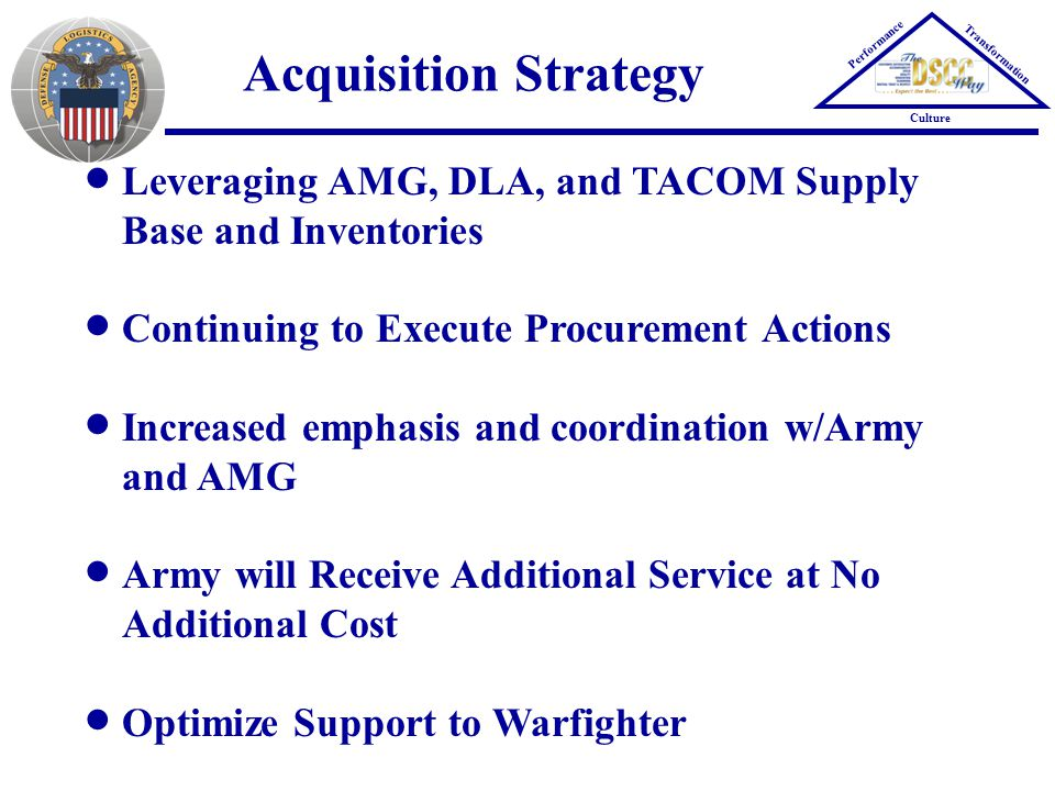 Acquisition Strategy Performance Transformation Culture Leveraging AMG, DLA, and TACOM Supply Base and Inventories Continuing to Execute Procurement Actions Increased emphasis and coordination w/Army and AMG Army will Receive Additional Service at No Additional Cost Optimize Support to Warfighter