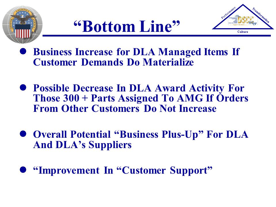 Performance Transformation Culture Bottom Line Business Increase for DLA Managed Items If Customer Demands Do Materialize Possible Decrease In DLA Award Activity For Those 300 + Parts Assigned To AMG If Orders From Other Customers Do Not Increase Overall Potential Business Plus-Up For DLA And DLA's Suppliers Improvement In Customer Support