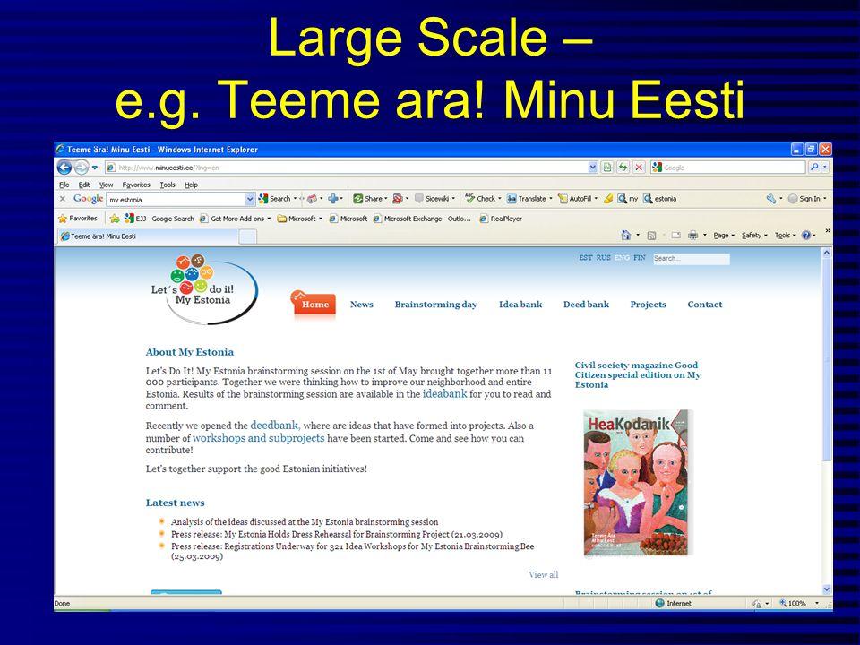 Large Scale – e.g. Teeme ara! Minu Eesti