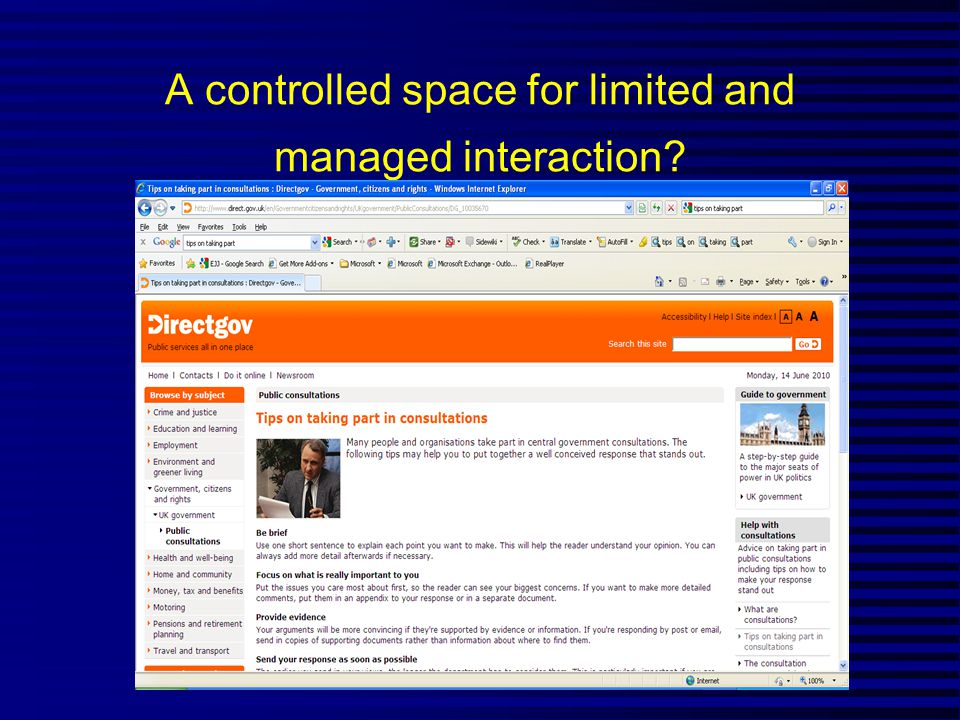 A controlled space for limited and managed interaction?