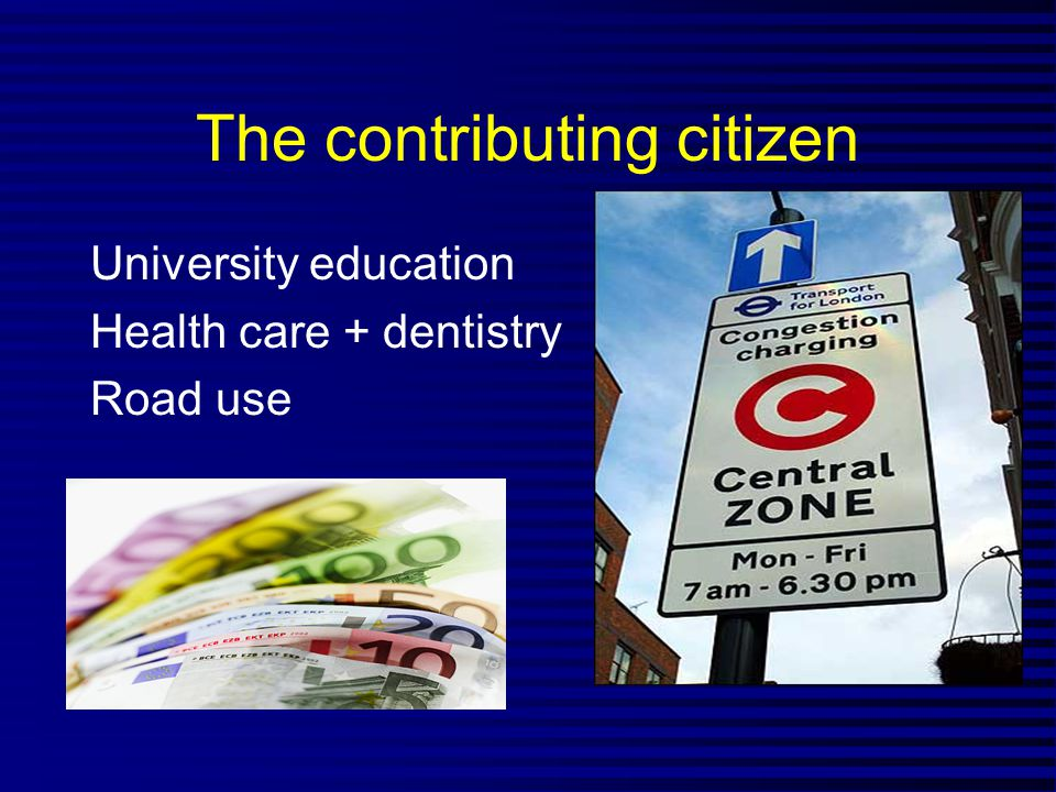 The contributing citizen University education Health care + dentistry Road use
