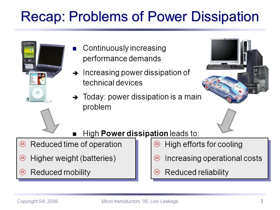 Copyright Sill, 2008 Micro transductors '08, Low Leakage 3 Recap: Problems of Power Dissipation Continuously increasing performance demands  Increasing power dissipation of technical devices  Today: power dissipation is a main problem High Power dissipation leads to:  High efforts for cooling  Increasing operational costs  Reduced reliability  High efforts for cooling  Increasing operational costs  Reduced reliability  Reduced time of operation  Higher weight (batteries)  Reduced mobility  Reduced time of operation  Higher weight (batteries)  Reduced mobility