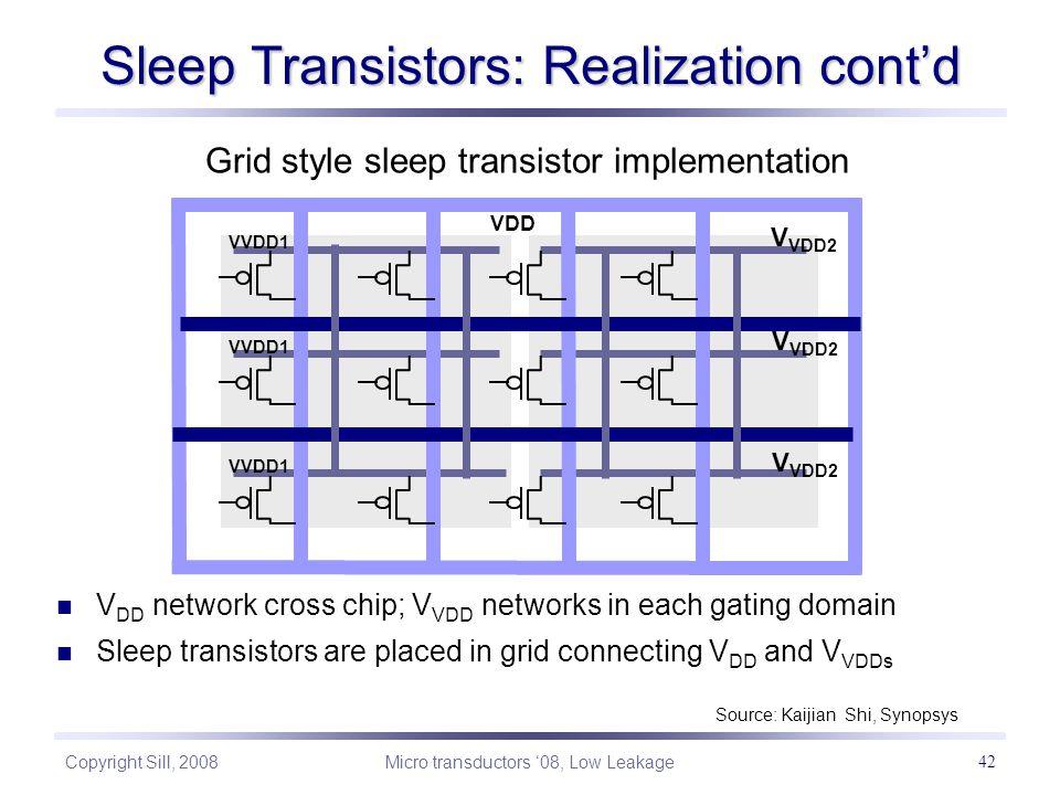 Copyright Sill, 2008 Micro transductors '08, Low Leakage 42 Sleep Transistors: Realization cont'd Grid style sleep transistor implementation Source: Kaijian Shi, Synopsys Global VDD V VDD2 VDD VVDD1 V VDD2 V DD network cross chip; V VDD networks in each gating domain Sleep transistors are placed in grid connecting V DD and V VDDs