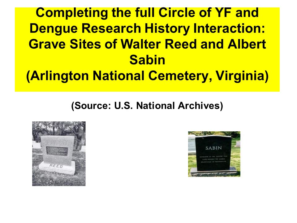 Completing the full Circle of YF and Dengue Research History Interaction: Grave Sites of Walter Reed and Albert Sabin (Arlington National Cemetery, Virginia) (Source: U.S.