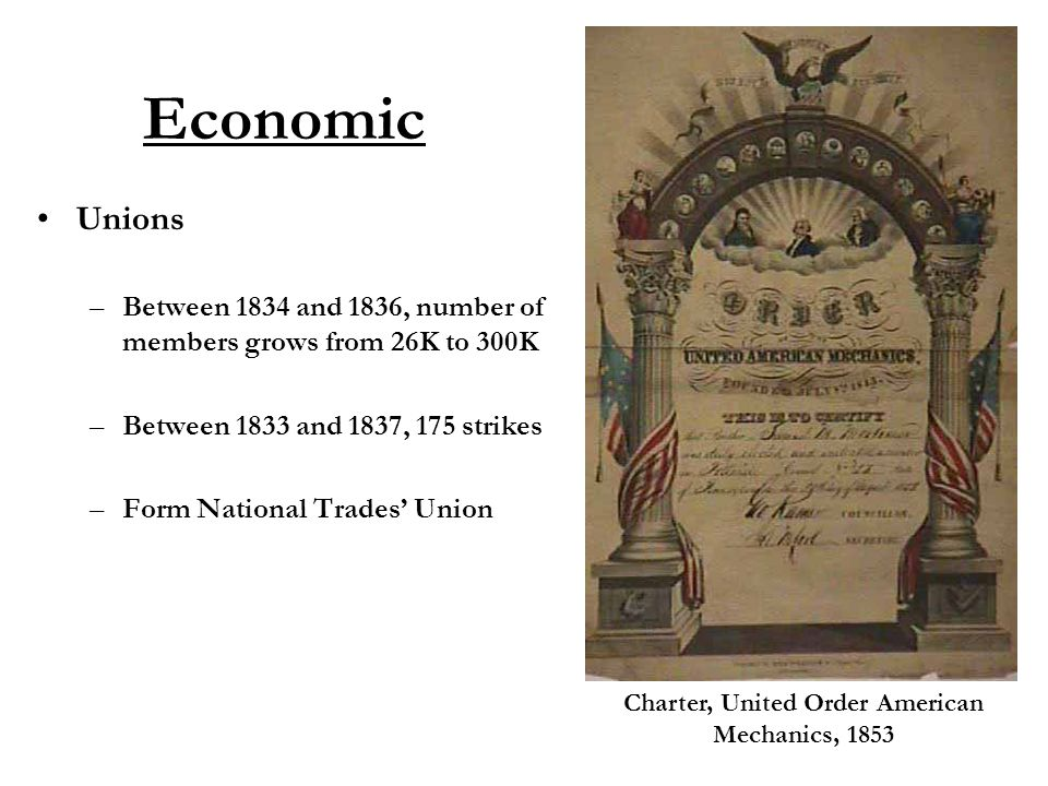 Economic Unions –Between 1834 and 1836, number of members grows from 26K to 300K –Between 1833 and 1837, 175 strikes –Form National Trades' Union Charter, United Order American Mechanics, 1853