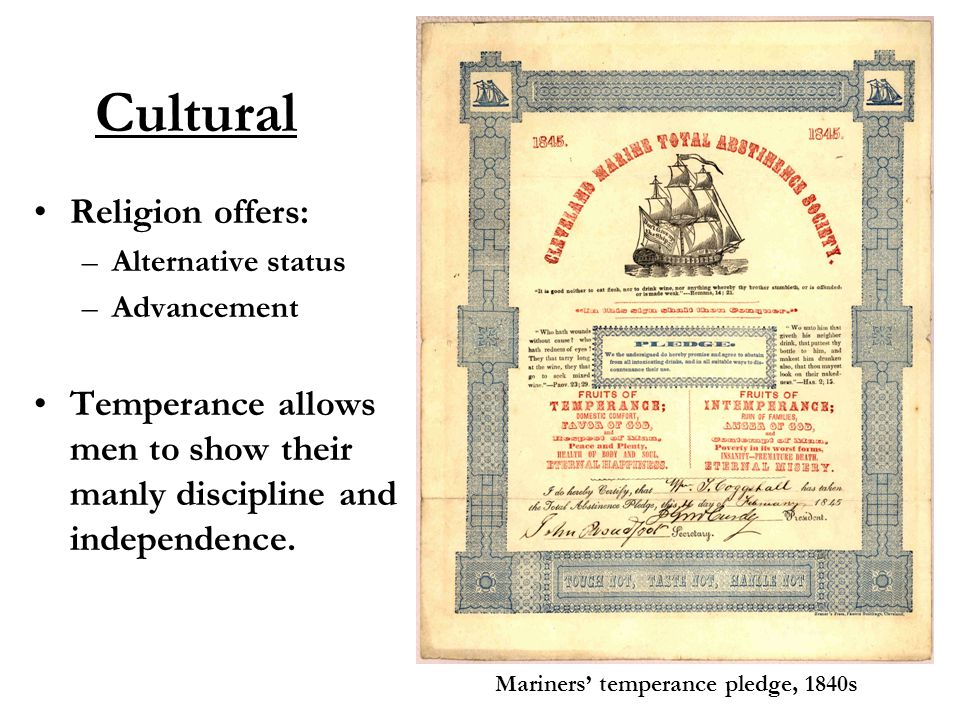 Cultural Mariners' temperance pledge, 1840s Religion offers: –Alternative status –Advancement Temperance allows men to show their manly discipline and