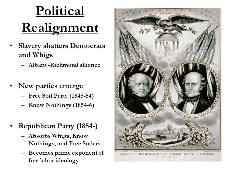 Political Realignment Slavery shatters Democrats and Whigs –Albany-Richmond alliance New parties emerge –Free Soil Party (1848-54) –Know Nothings (1854-6) Republican Party (1854-) –Absorbs Whigs, Know Nothings, and Free Soilers –Becomes prime exponent of free labor ideology