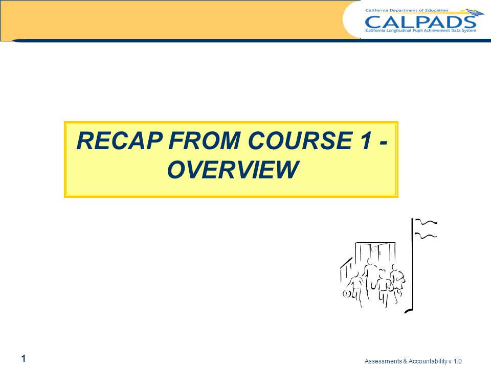 Assessments & Accountability v 1.0 2 Recap – Course 1 Overview KEY POINTS Assessment and Accountability (A/A) functionality in CALPADS is being implemented to support these main objectives … −Providing a complete individual student assessment history for STAR, CAHSEE, and CELDT −Improving the accuracy and consistency of data used to evaluate performance of individual students and educational entities Achieving these objectives will require several iterations of CALPADS functionality −Current phase of functionality is focused on identifying issues for both LEAs and CDE related to the loading of data −Future functionality will address these issues as well as enhance the accessibility and usability of the data for LEAs and CDE