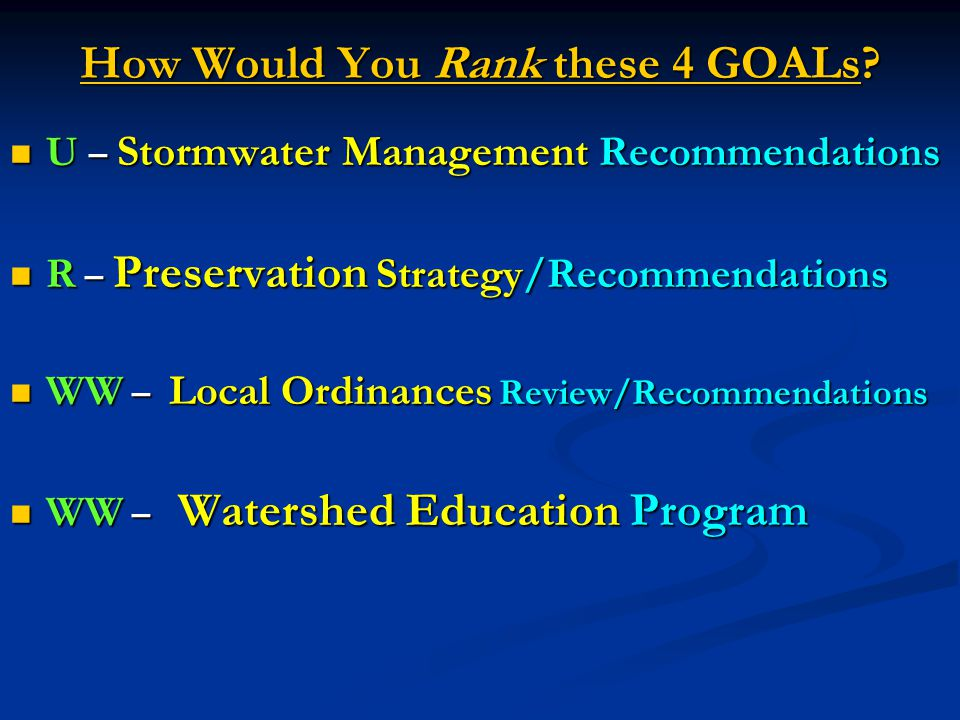 How Would You Rank these 4 GOALs? U – Stormwater Management Recommendations U – Stormwater Management Recommendations R – Preservation Strategy/Recomm