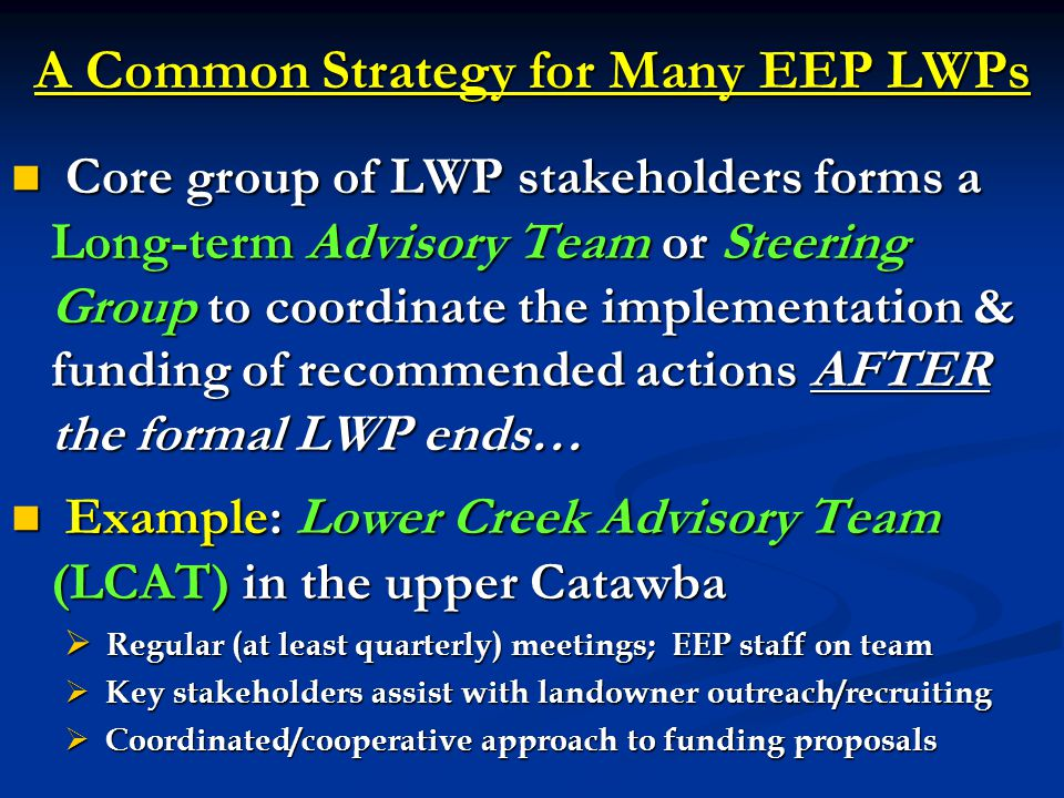 A Common Strategy for Many EEP LWPs Core group of LWP stakeholders forms a Long-term Advisory Team or Steering Group to coordinate the implementation