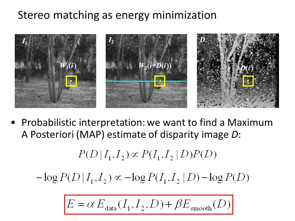 Stereo matching as energy minimization Probabilistic interpretation: we want to find a Maximum A Posteriori (MAP) estimate of disparity image D: I1I1