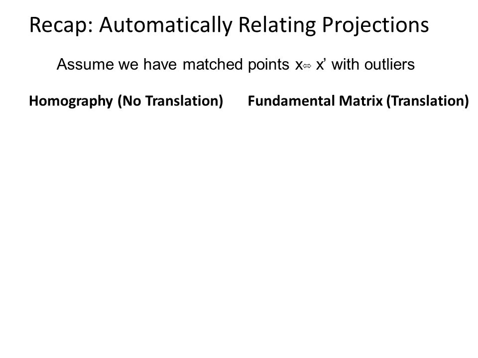 Recap: Automatically Relating Projections Homography (No Translation)Fundamental Matrix (Translation) Assume we have matched points x x' with outliers