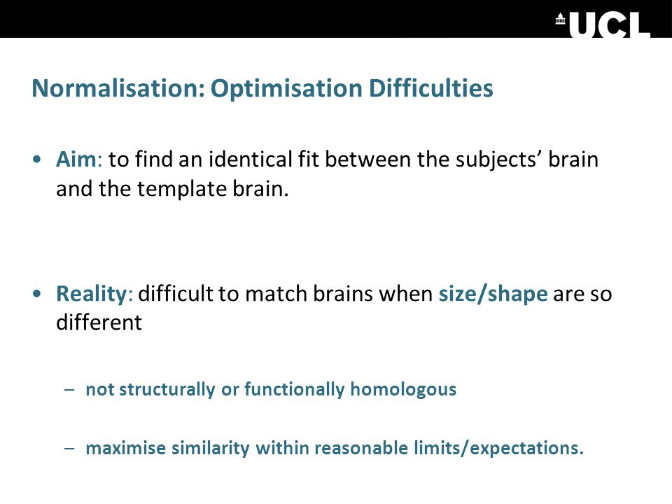 Normalisation: Optimisation Difficulties Aim: to find an identical fit between the subjects' brain and the template brain.