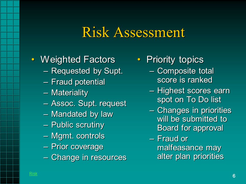 6 Risk Assessment Weighted FactorsWeighted Factors –Requested by Supt.