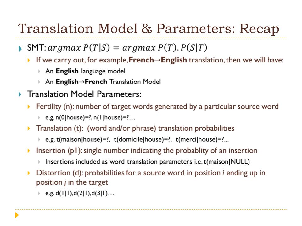 How to learn TM parameters.