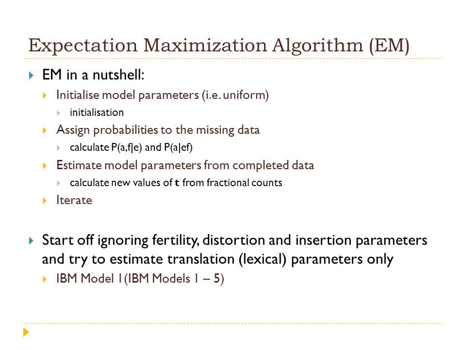 Expectation Maximization Algorithm (EM)  EM in a nutshell:  Initialise model parameters (i.e.