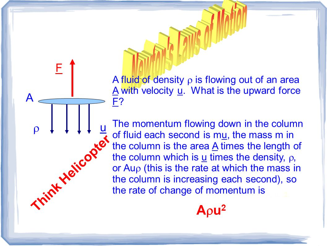 F u A fluid of density  is flowing out of an area A with velocity u.