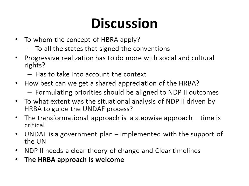 Discussion To whom the concept of HBRA apply.