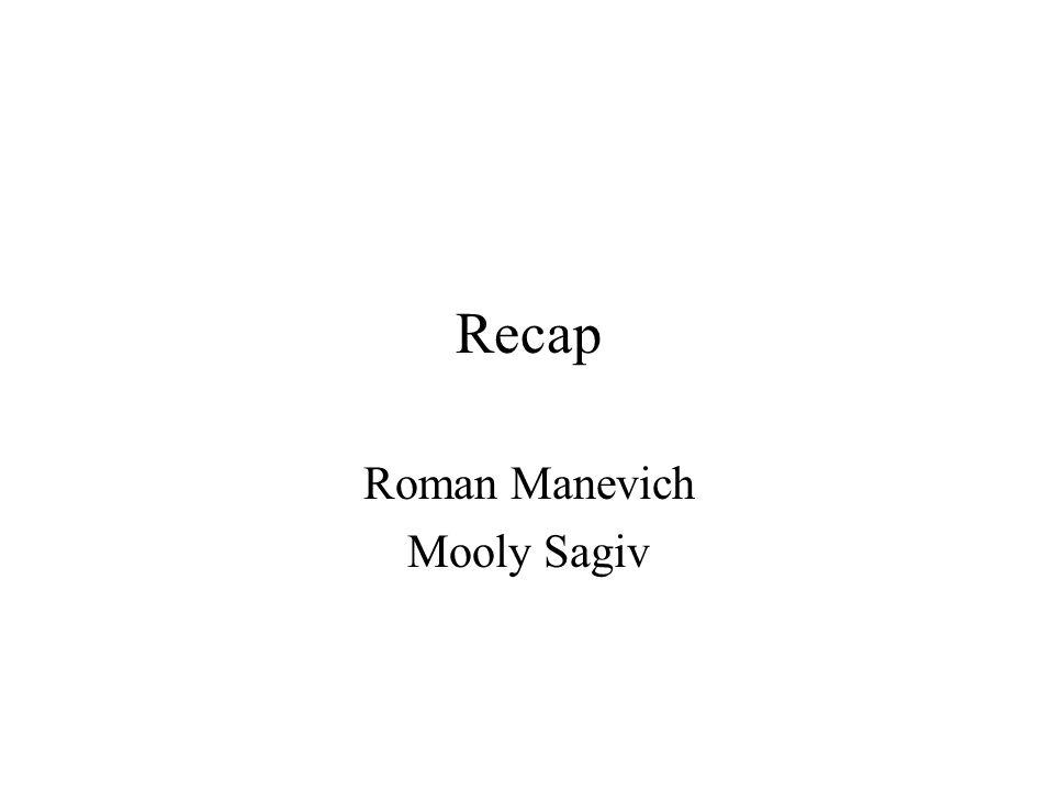 Recap Roman Manevich Mooly Sagiv