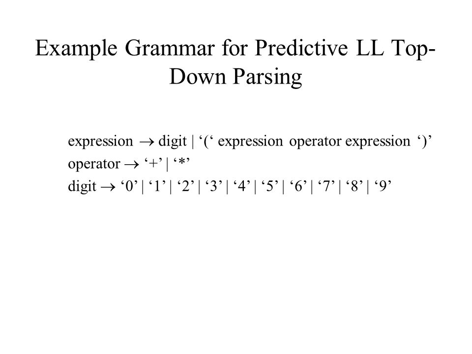 Example Grammar for Predictive LL Top- Down Parsing expression  digit | '(' expression operator expression ')' operator  '+' | '*' digit  '0' | '1' | '2' | '3' | '4' | '5' | '6' | '7' | '8' | '9'