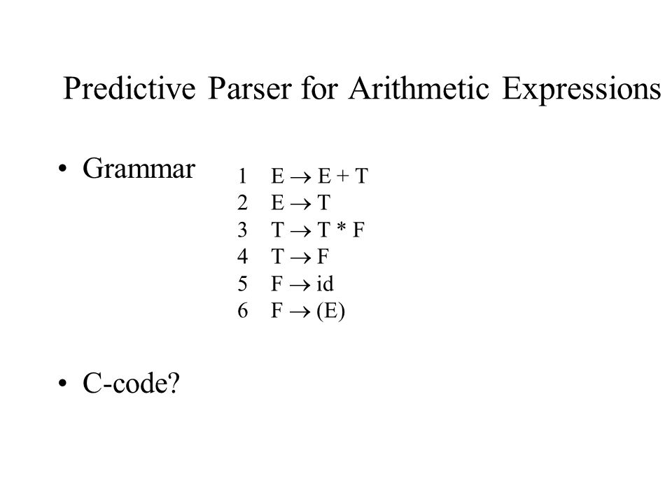 Predictive Parser for Arithmetic Expressions Grammar C-code? 1E  E + T 2E  T 3T  T * F 4T  F 5 F  id 6 F  (E)