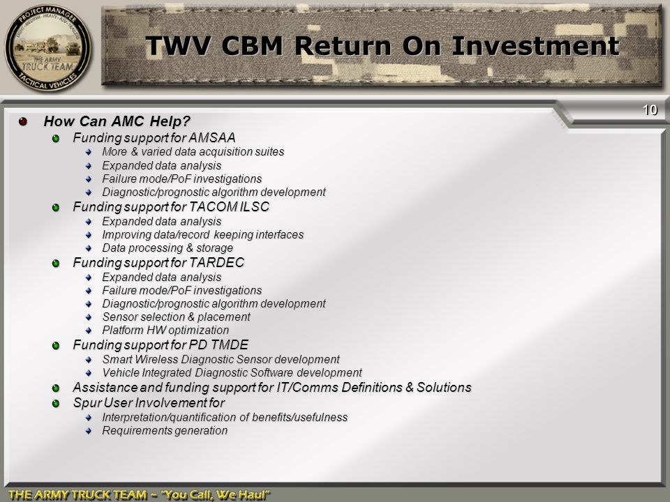 10 TWV CBM Return On Investment How Can AMC Help? Funding support for AMSAA More & varied data acquisition suites Expanded data analysis Failure mode/