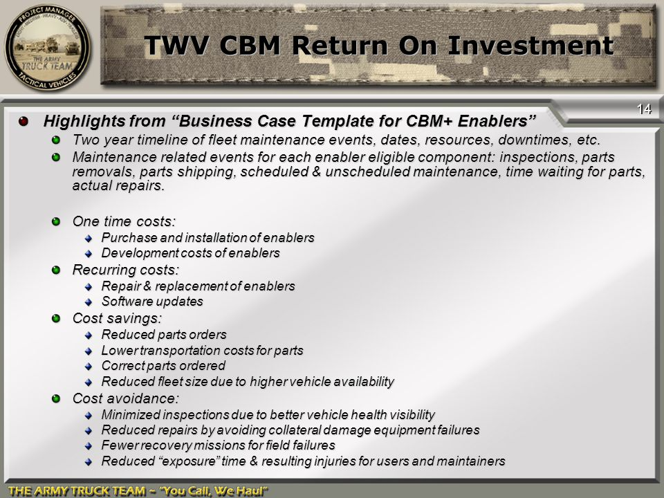 """14 TWV CBM Return On Investment Highlights from """"Business Case Template for CBM+ Enablers"""" Two year timeline of fleet maintenance events, dates, resou"""