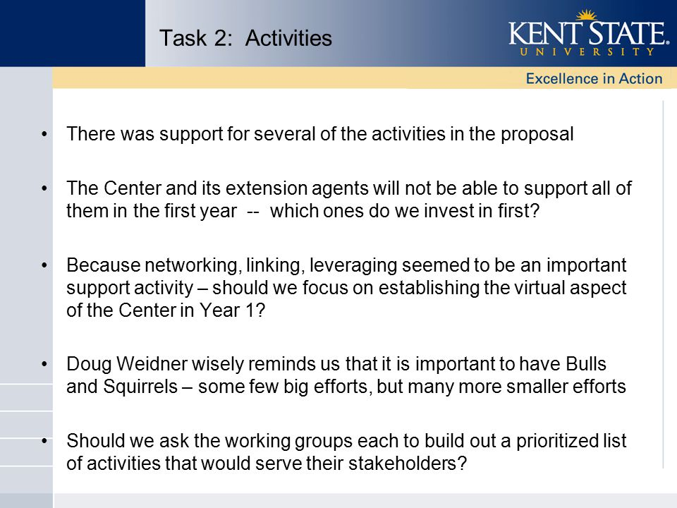 Task 2: Activities There was support for several of the activities in the proposal The Center and its extension agents will not be able to support all of them in the first year -- which ones do we invest in first.