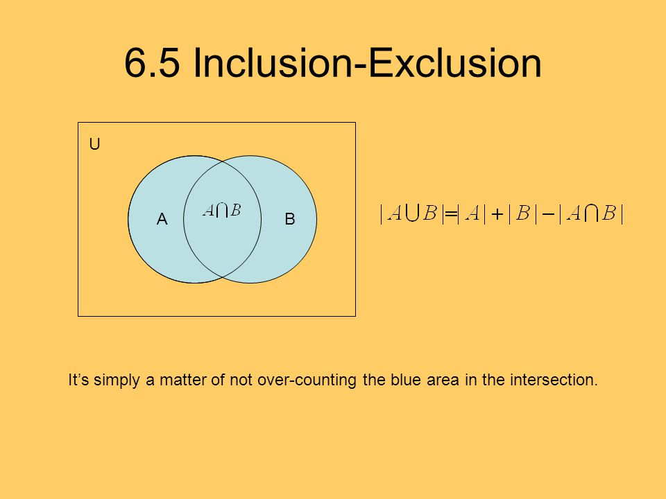 6.5 Inclusion-Exclusion A AB U It's simply a matter of not over-counting the blue area in the intersection.