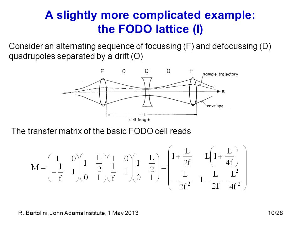 10/28 A slightly more complicated example: the FODO lattice (I) Consider an alternating sequence of focussing (F) and defocussing (D) quadrupoles sepa