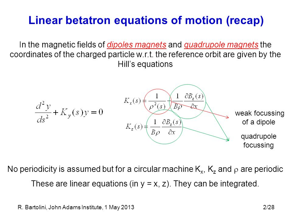 2/28 Linear betatron equations of motion (recap) In the magnetic fields of dipoles magnets and quadrupole magnets the coordinates of the charged parti