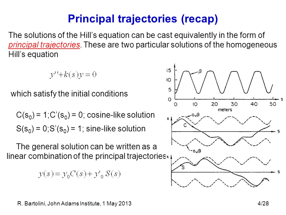 4/28 Principal trajectories (recap) The solutions of the Hill's equation can be cast equivalently in the form of principal trajectories. These are two