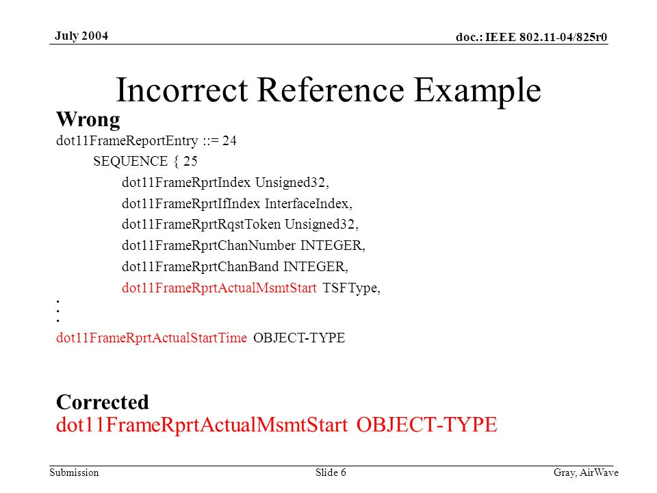 doc.: IEEE 802.11-04/825r0 Submission July 2004 Gray, AirWaveSlide 6 Incorrect Reference Example dot11FrameRprtActualMsmtStart OBJECT-TYPE dot11FrameR