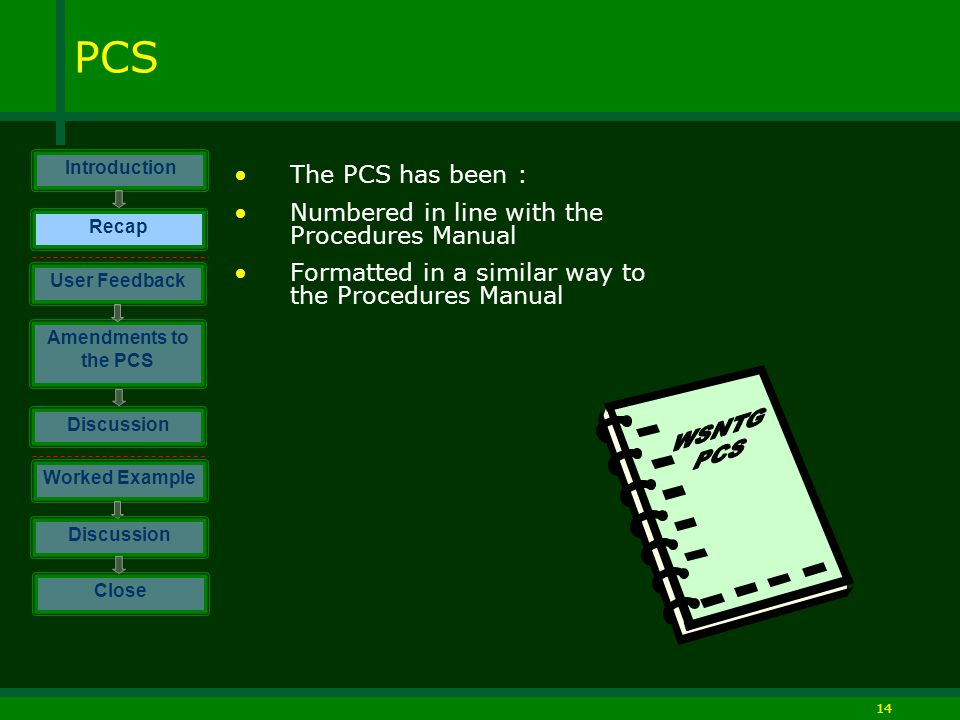 14 PCS The PCS has been : Numbered in line with the Procedures Manual Formatted in a similar way to the Procedures Manual Introduction Discussion Worked Example Close User Feedback Amendments to the PCS Discussion Recap