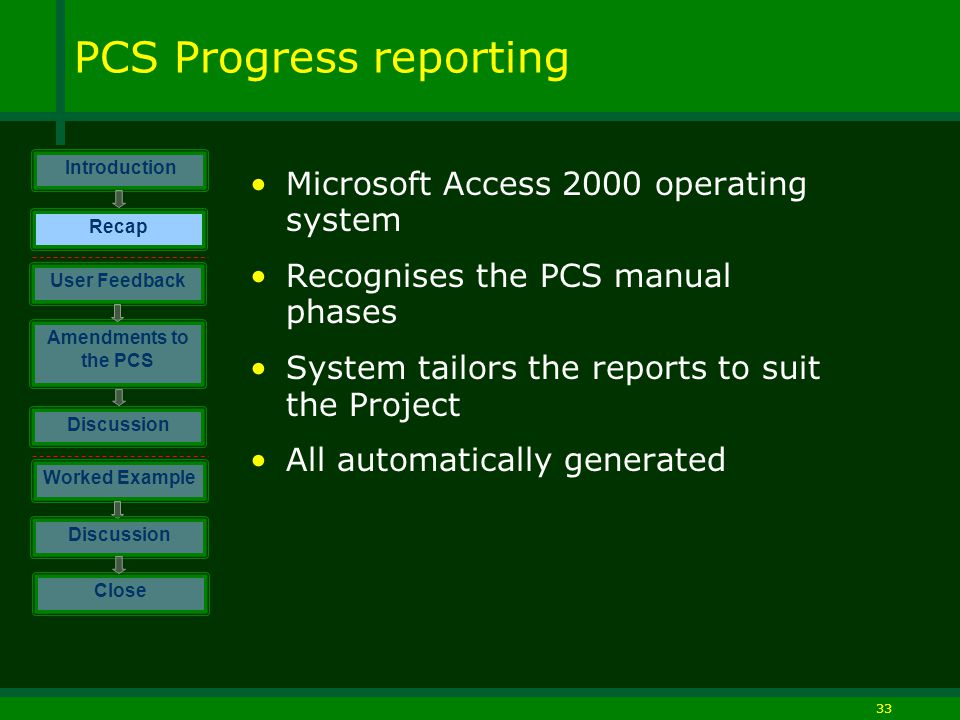 33 PCS Progress reporting Microsoft Access 2000 operating system Recognises the PCS manual phases System tailors the reports to suit the Project All automatically generated Introduction Discussion Worked Example Close User Feedback Amendments to the PCS Discussion Recap